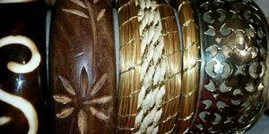 Jewelry - Bundle of Bangles, Wood, Rattan, Silver & Resin